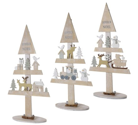 Lot de 3 sapins décoration de Noël en bois avec décors H41cm