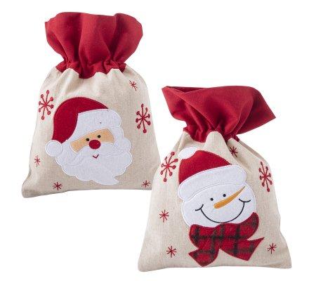 Lot de 2 sacs de Noël en tissu motifs Père Noël et bonhomme de neige 30x22cm