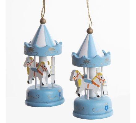 Lot de 2 sujets, carrousel miniature en bois bleu à accrocher 9cm