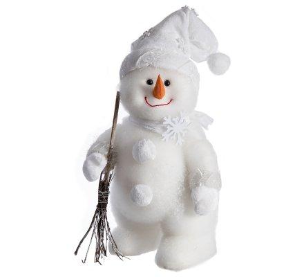 Figurine décorative bonhomme de neige avec écharpe et bonnet blanc H42cm