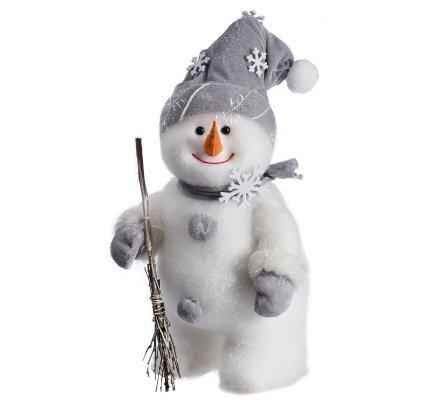 Figurine décorative bonhomme de neige avec écharpe et bonnet gris H42cm