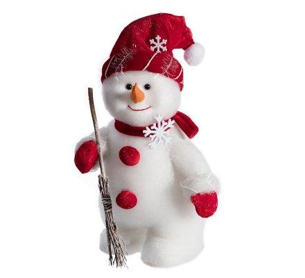 Figurine décorative bonhomme de neige avec écharpe et bonnet rouge H42cm