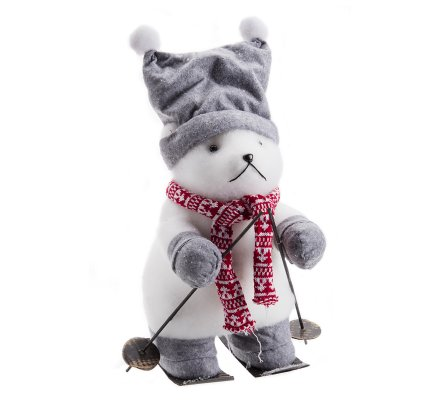 Figurine déco Noël marmotte sur ski avec écharpe et bonnet gris H40cm