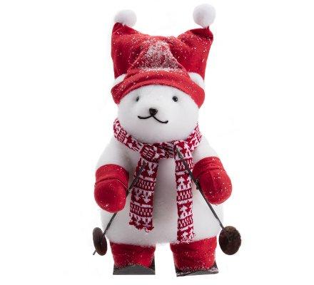Figurine déco Noël marmotte sur ski avec écharpe et bonnet rouge H40cm