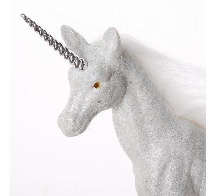 Figurine licorne déco pailletée coloris blanc 22x21x5cm