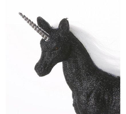 Figurine licorne déco pailletée coloris noir 22x21x5cm
