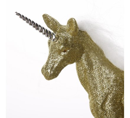 Figurine licorne déco pailletée coloris or 22x21x5cm