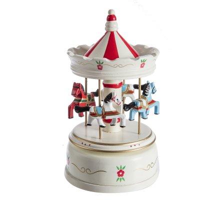 Carrousel musical mécanique en bois blanc et rouge 21cm