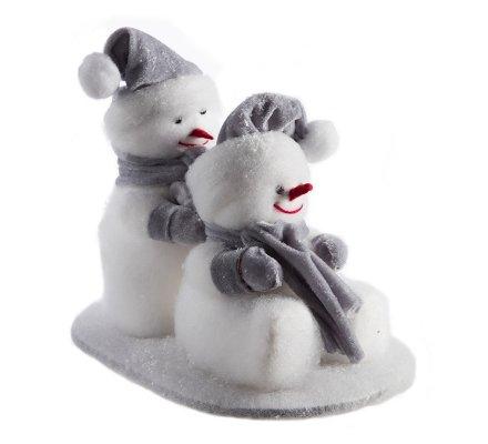 Figurine décorative 2 bonhommes de neige assis et debout avec écharpe et bonnet gris