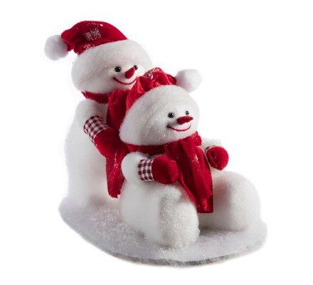 Figurine décorative 2 bonshommes de neige assis et debout avec écharpe et bonnet rouge