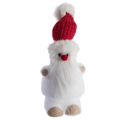 Figurine décorative petit père noël nez rouge et bonnet rouge H20cm
