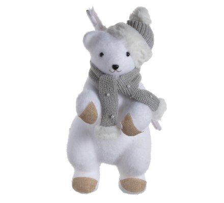 Figurine déco Noël ours polaire avec écharpe et bonnet gris H35cm