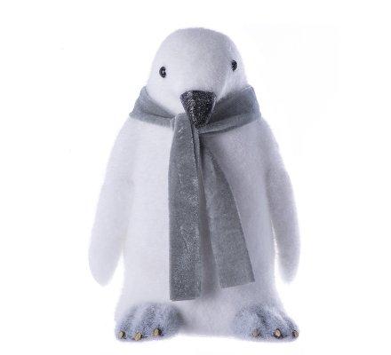 Pingouin figurine déco de noël écharpe grise H32cm