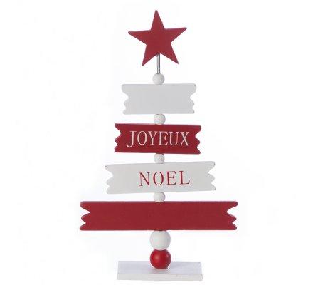 """Petit sapin déco en bois """"Joyeux Noël"""" 24cm"""