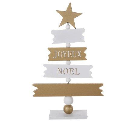 """Petit sapin déco en bois """"Joyeux Noël"""" blanc et doré 24cm"""