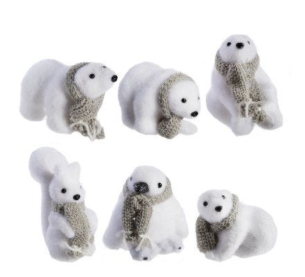 Lot de 6 petites figurines animaux de Noël4 ours, 1 écureuil et 1 pingouin avec écharpe grise 10cm