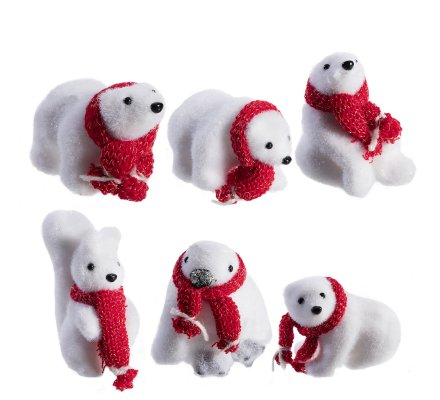 Lot de 6 petites figurines animaux de Noël4 ours, 1 écureuil et 1 pingouin avec écharpe rouge 10cm