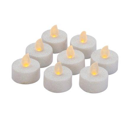 Lot de 8 bougies chauffe-plat LED blanches pailletées