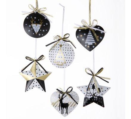 Lot de 6 sujets de noël métal doré, blanc et noir à accrocher, coeur, étoile, boule