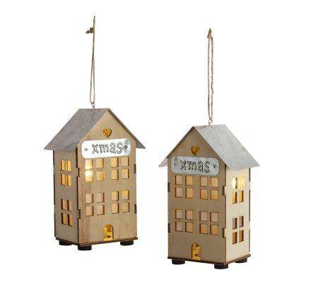 Lot de 2 petits chalets lumineux à led en bois et toit galva 16cm