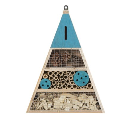 Maison à insectes, hôtel refuge en bois forme triangle à poser ou suspendre détails bleus