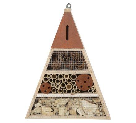 Maison à insectes, hôtel refuge en bois forme triangle à poser ou suspendre détails marron