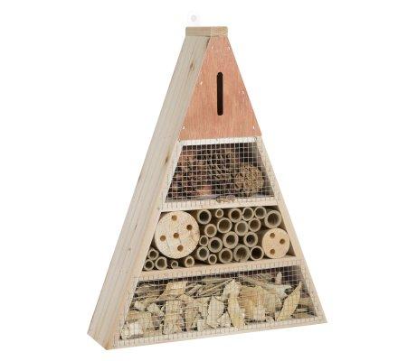 Maison à insectes, hôtel refuge en bois forme triangle à poser ou suspendre coloris naturel