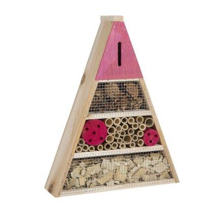 Maison à insectes, hôtel refuge en bois forme triangle à poser ou suspendre détails roses