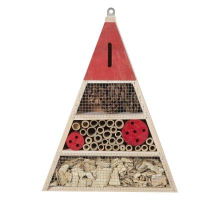 Maison à insectes, hôtel refuge en bois forme triangle à poser ou suspendre détails rouges
