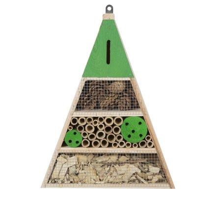 Maison à insectes, hôtel refuge en bois forme triangle à poser ou suspendre détails verts