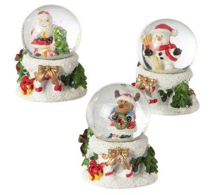 Lot de 3 petites boules à neige déco père Noël, bonhomme de neige et renne