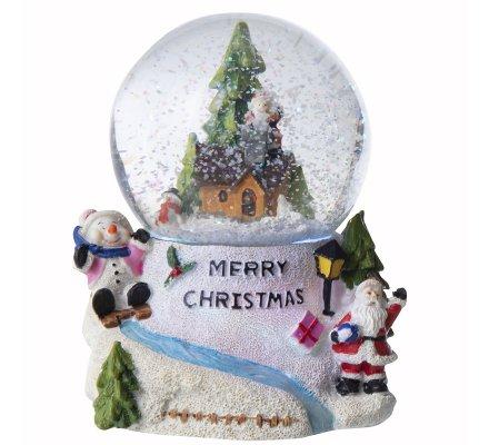 Boule à neige musicale et lumineuse, couleurs changeantes village de Noël 16cm
