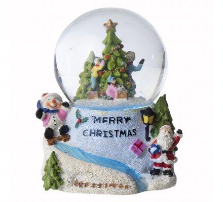 Boule à neige musicale et lumineuse, couleurs changeantes sapin de Noël 16cm