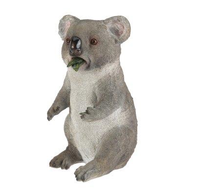 Statue déco koala assis qui mange en résine 22cm