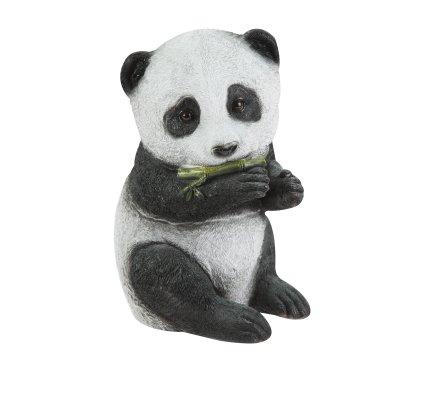 Statue déco panda assis qui mange en résine 22cm