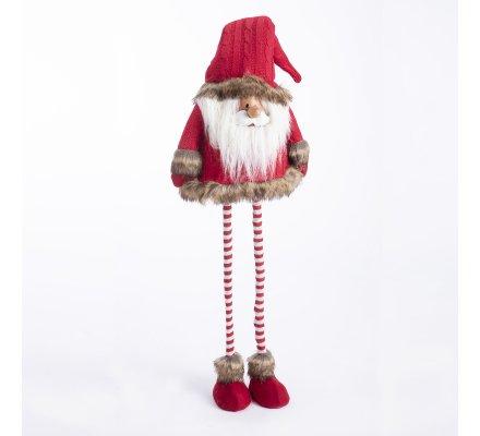 Figurine Père Noël déco avec jambes extensibles rouge et gris 40-80cm