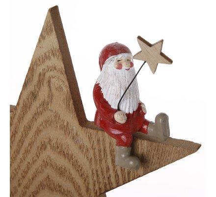 Lot de 2 étoiles déco à poser en bois avec Père Noël assis rouge H25,5cm