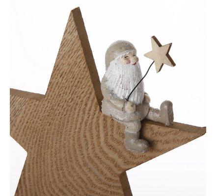 Lot de 2 étoiles déco à poser en bois avec Père Noël assis beige H25,5cm