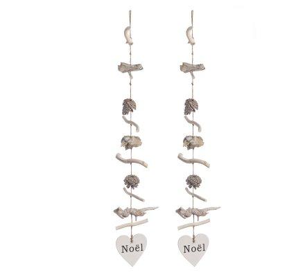 Lot de 2 suspensions décoration de Noël nature en bois et ficelle H 75cm