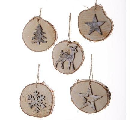 Lot de 5 sujets de noël rondins de bois nature à suspendre motif flocon, biche, étoile et sapin