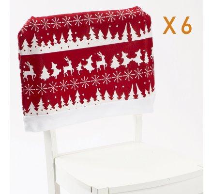 Lot de 6 housses, dessus de chaise décoration de Noël rouge et blanc