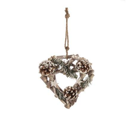 Décoration naturelle coeur bois à suspendre avec pomme de pin et étoile 22cm