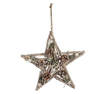 Décoration naturelle étoile bois à suspendre avec pomme de pin 50cm