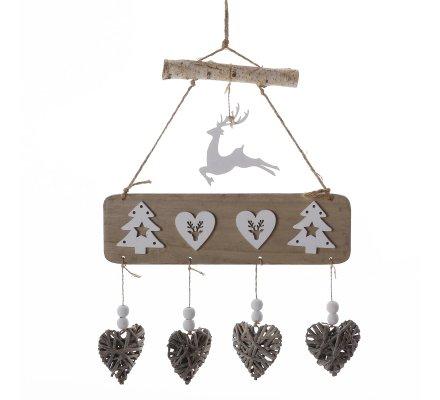 Suspension décoration de Noël nature en bois et ficelle avec coeur, sapin et renne H53cm