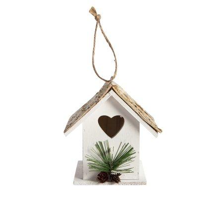 Maison pour oiseaux coeur en bois blanc 14x13cm
