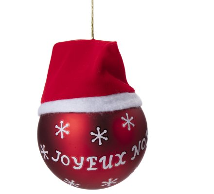 """Lot de 4 boules déco sapin """"Joyeux Noël"""" rouge et blanc avec bonnet"""