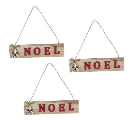 Lot de 3 pancartes décoration de Noël à suspendre en bois 18,5cm