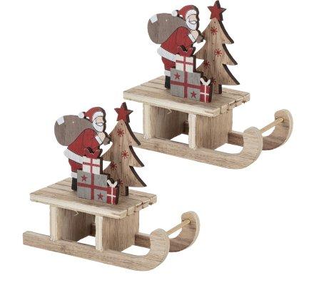 Lot de 2 luges décoration de table en bois naturel avec père Noël 14cm