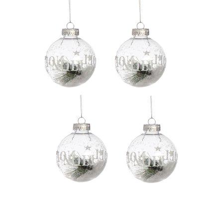Lot de 4 boules de Noël déco sapin transparentes avec neige 8cm