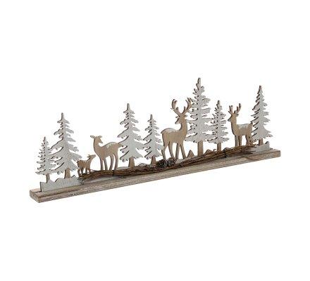 Décoration scène de Noël nature ornement en bois L45cm